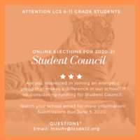 STUDENT COUNCIL SEEKS MEMBERS FOR THE 2020-21 SCHOOL YEAR