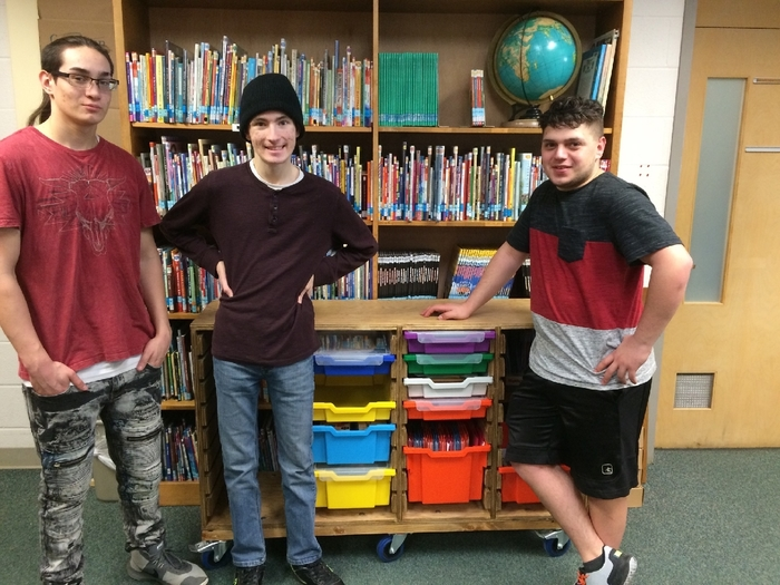 Carl, Josh and Andrew with the cart they built with Mr. Gress.